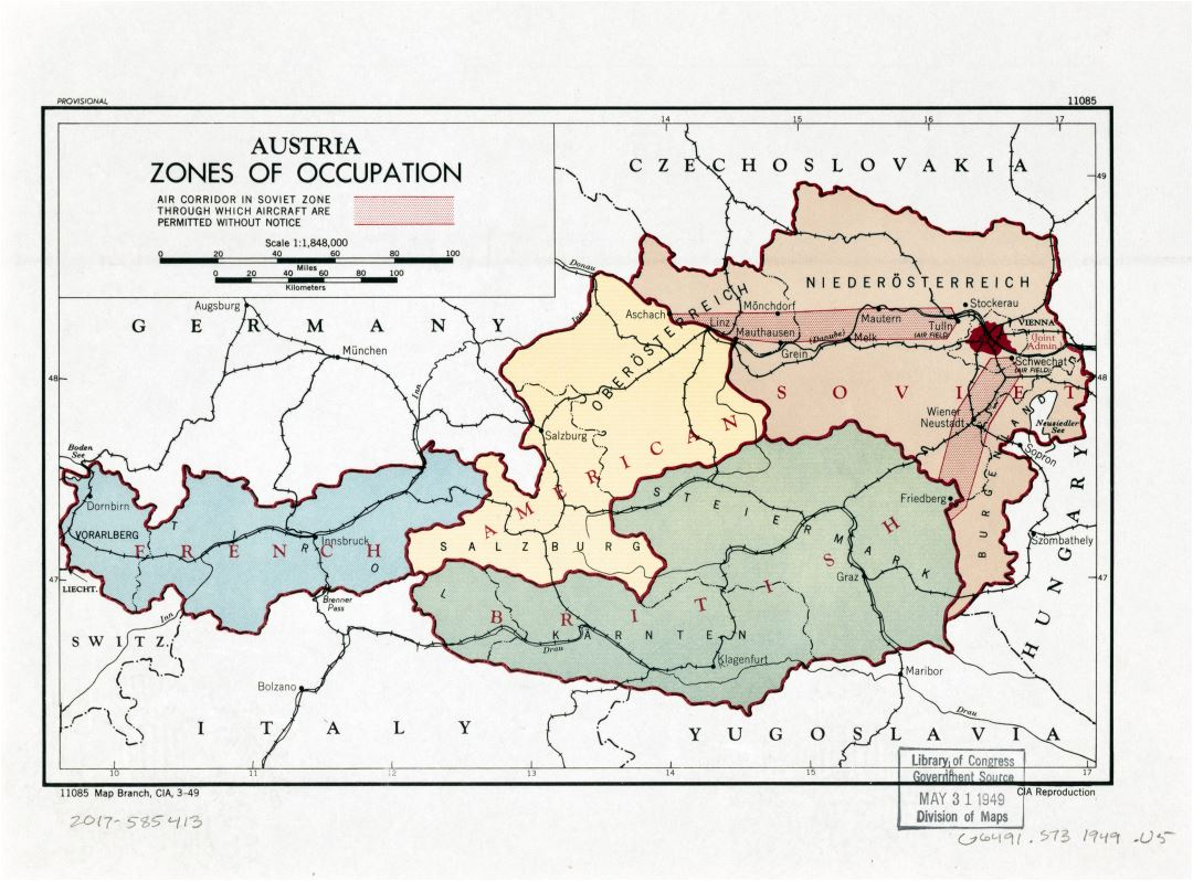 Large detailed zones of occupation map of Austria - 1949