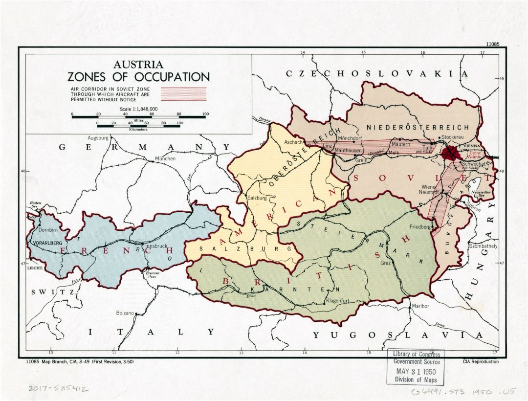 Large detailed zones of occupation map of Austria - 1950