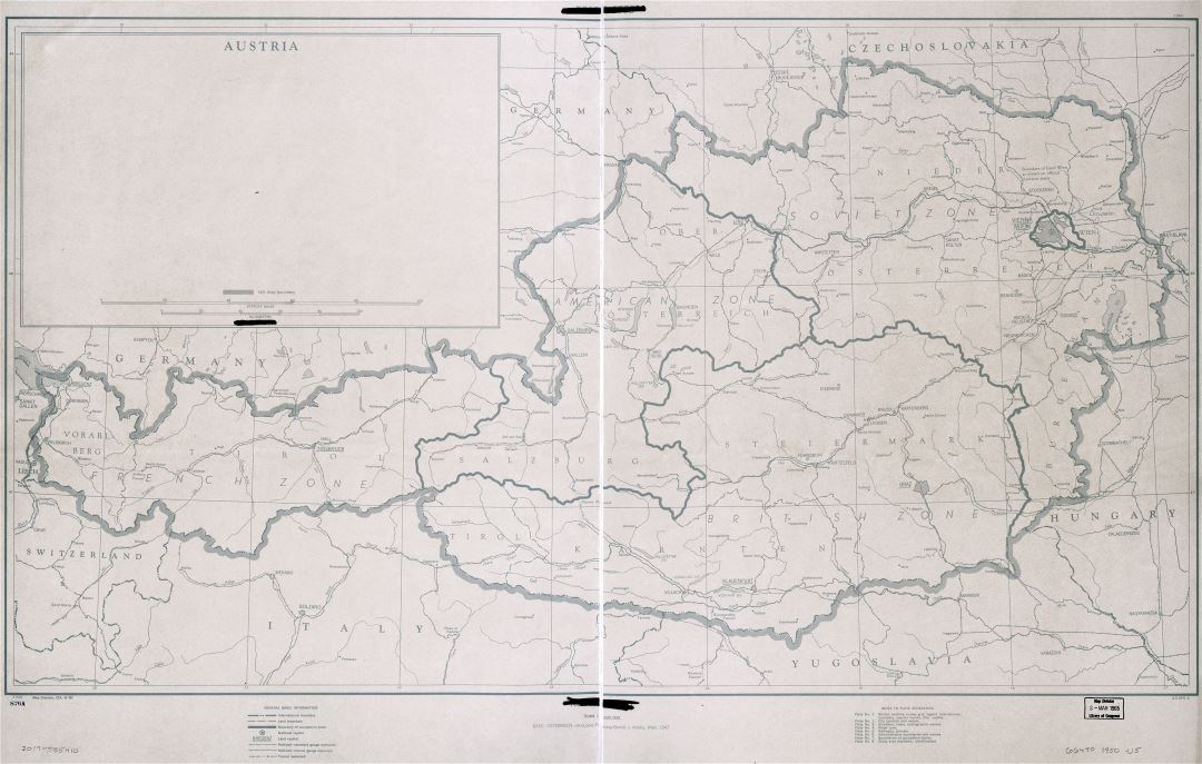 Large detailed zones of occupation map of Austria with roads, railroads and cities - 1945