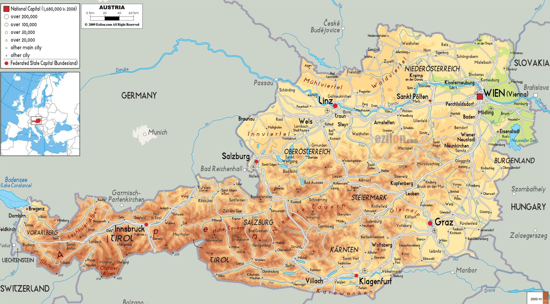 Map Of Europe With Austria.Large Physical Map Of Austria With Roads Cities And Airports