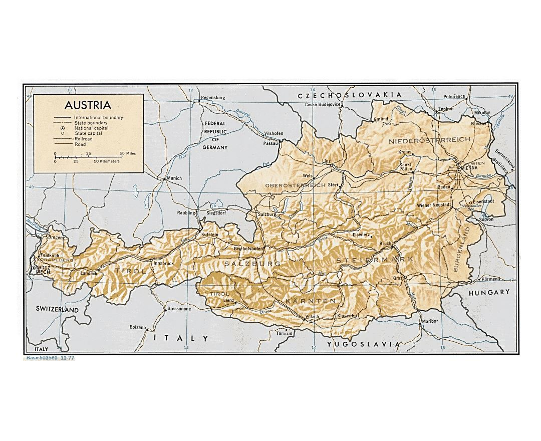 Large political and administrative map of Austria with relief - 1977