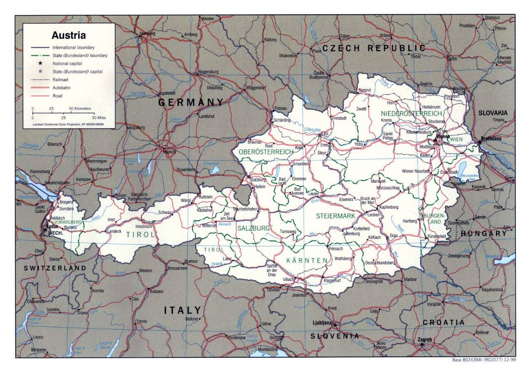 Large political and administrative map of Austria with roads and cities - 1999