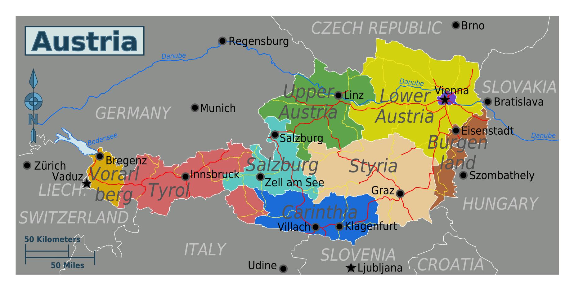 Large regions map of Austria Austria Europe Mapsland Maps of