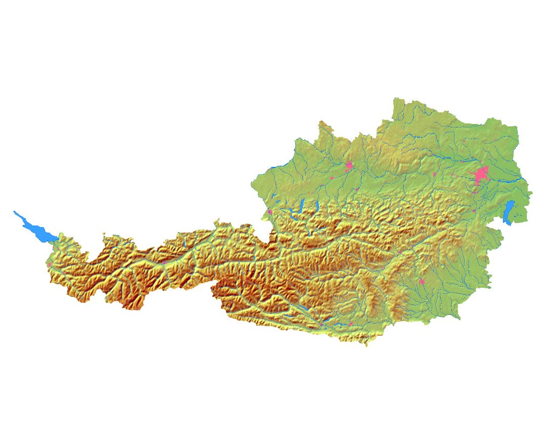 Large relief map of Austria