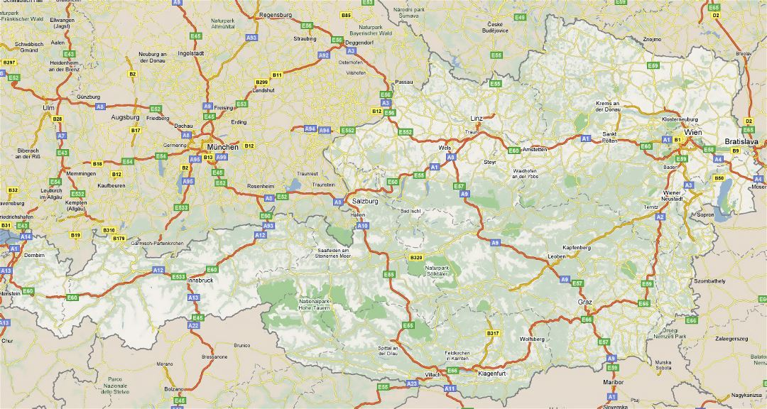 Large road map of Austria with all cities