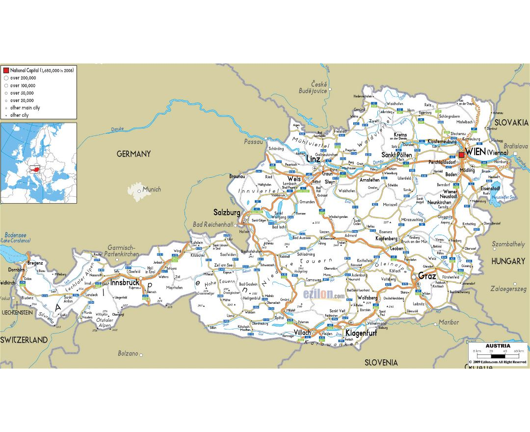 Large road map of Austria with cities and airports