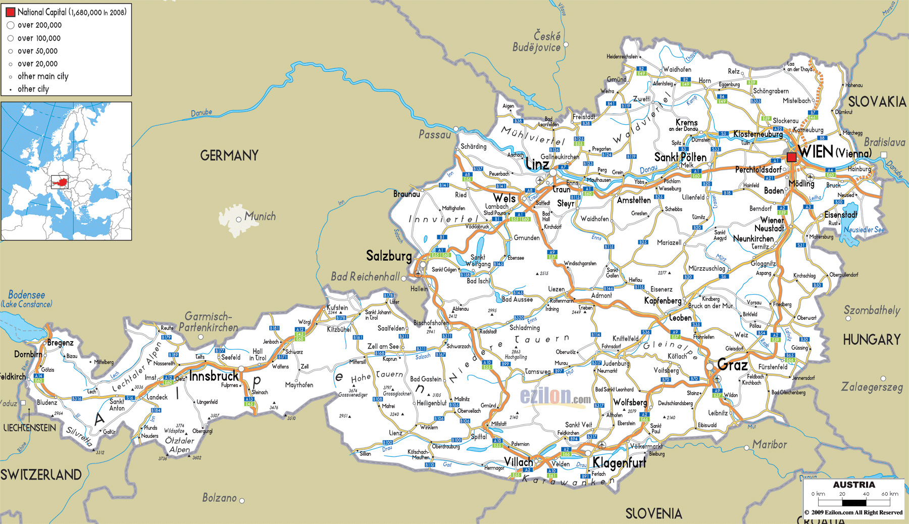Large road map of austria with cities and airports austria large road map of austria with cities and airports gumiabroncs Gallery