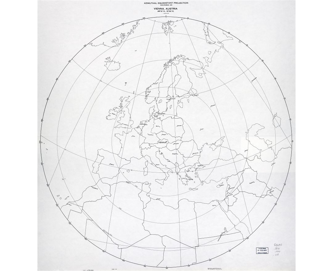 Large scale detail azimuthal equidistant projection map centered on Vienna, Austria - 1970