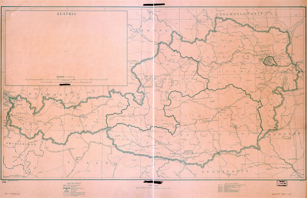 Large scale detailed political map of Austria with roads, railroads, cities and other marks - 1945
