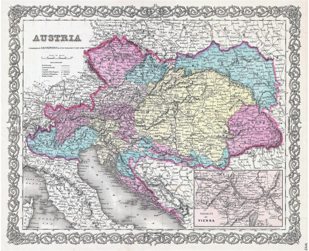 Large scale old political and administrative map of Austria with relief - 1855