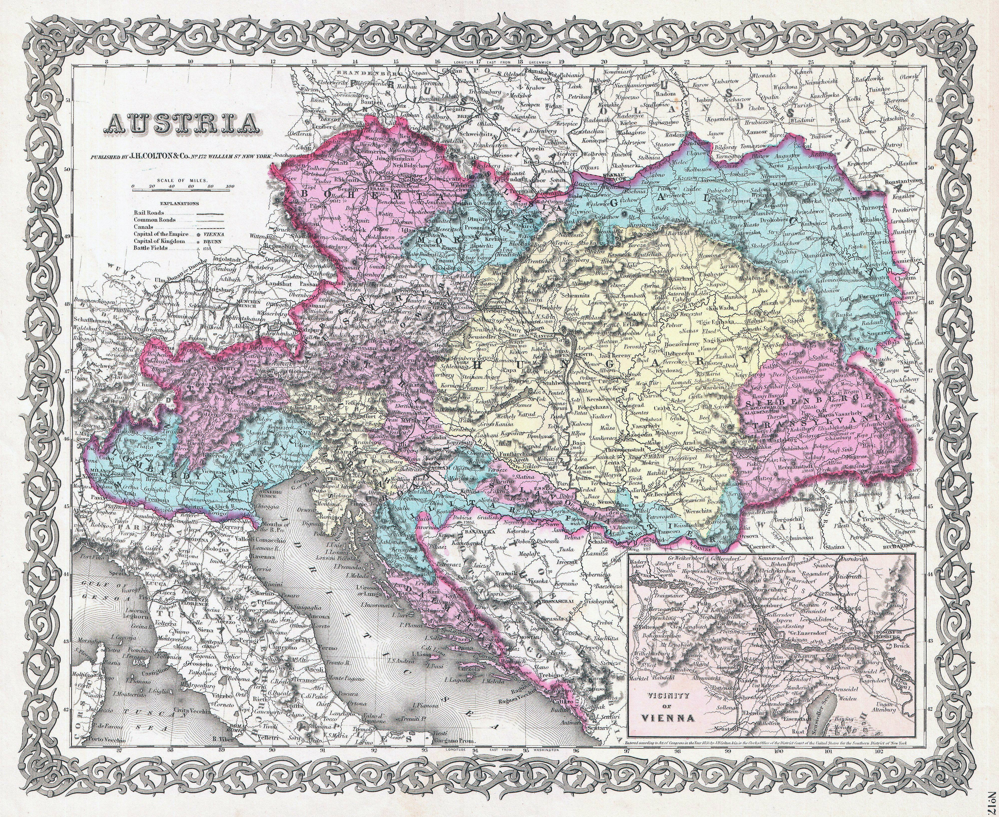 Large scale old political and administrative map of Austria with