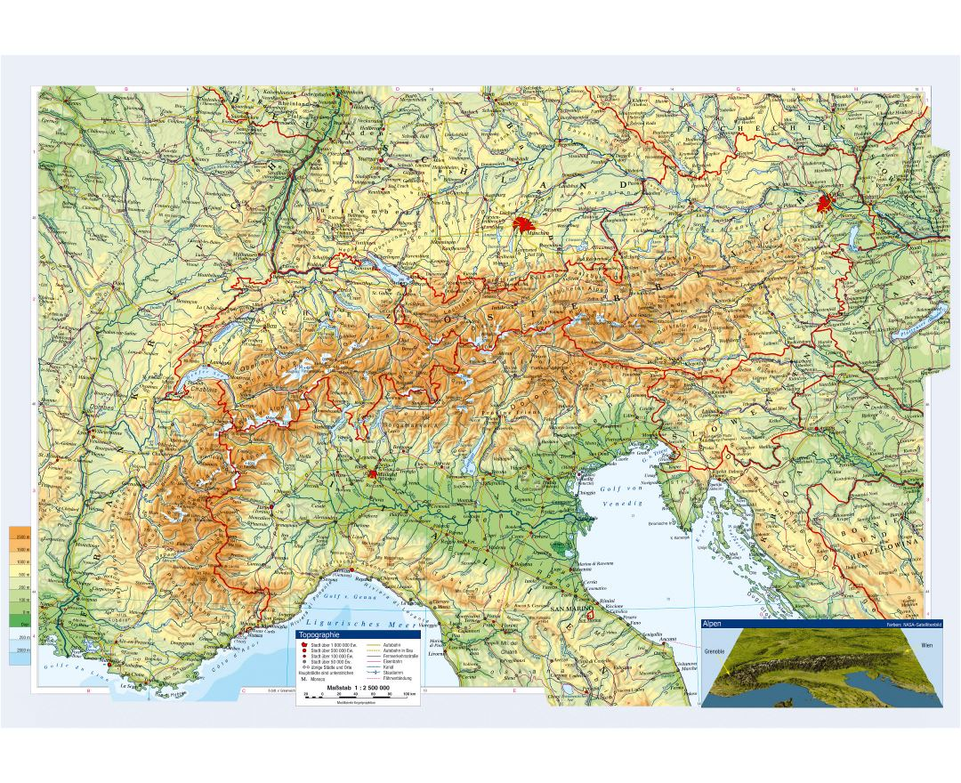 Large topographical map of Austria and neighboring countries with cities and roads
