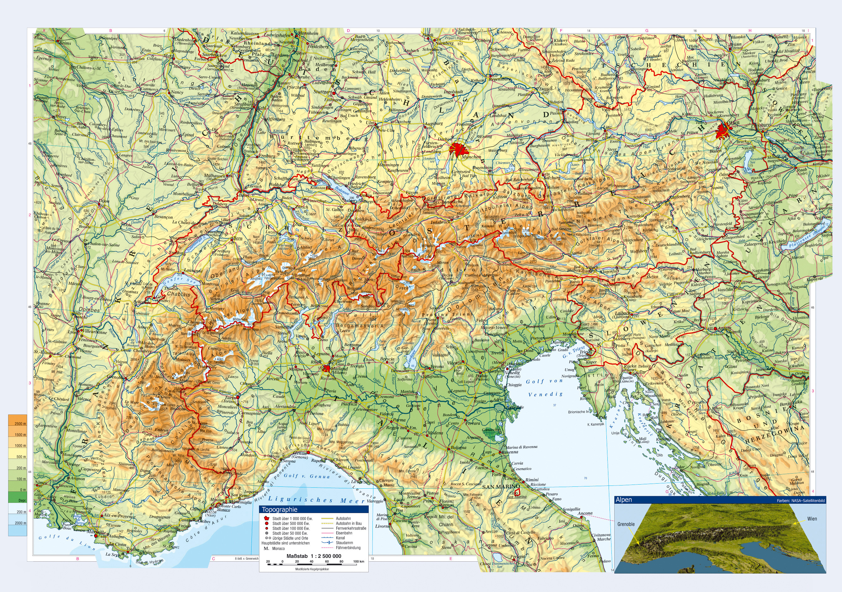 Large Topographical Map Of Austria And Neighboring Countries With - Map of austria cities