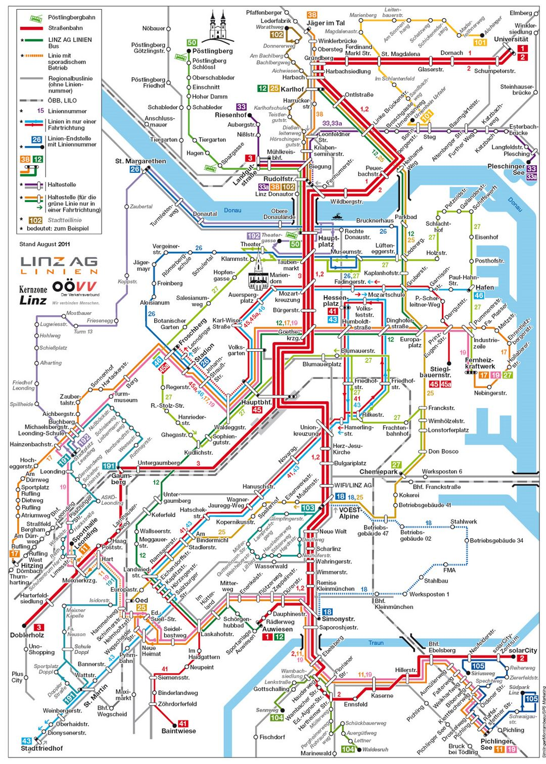 Detailed public transportation map of Linz city