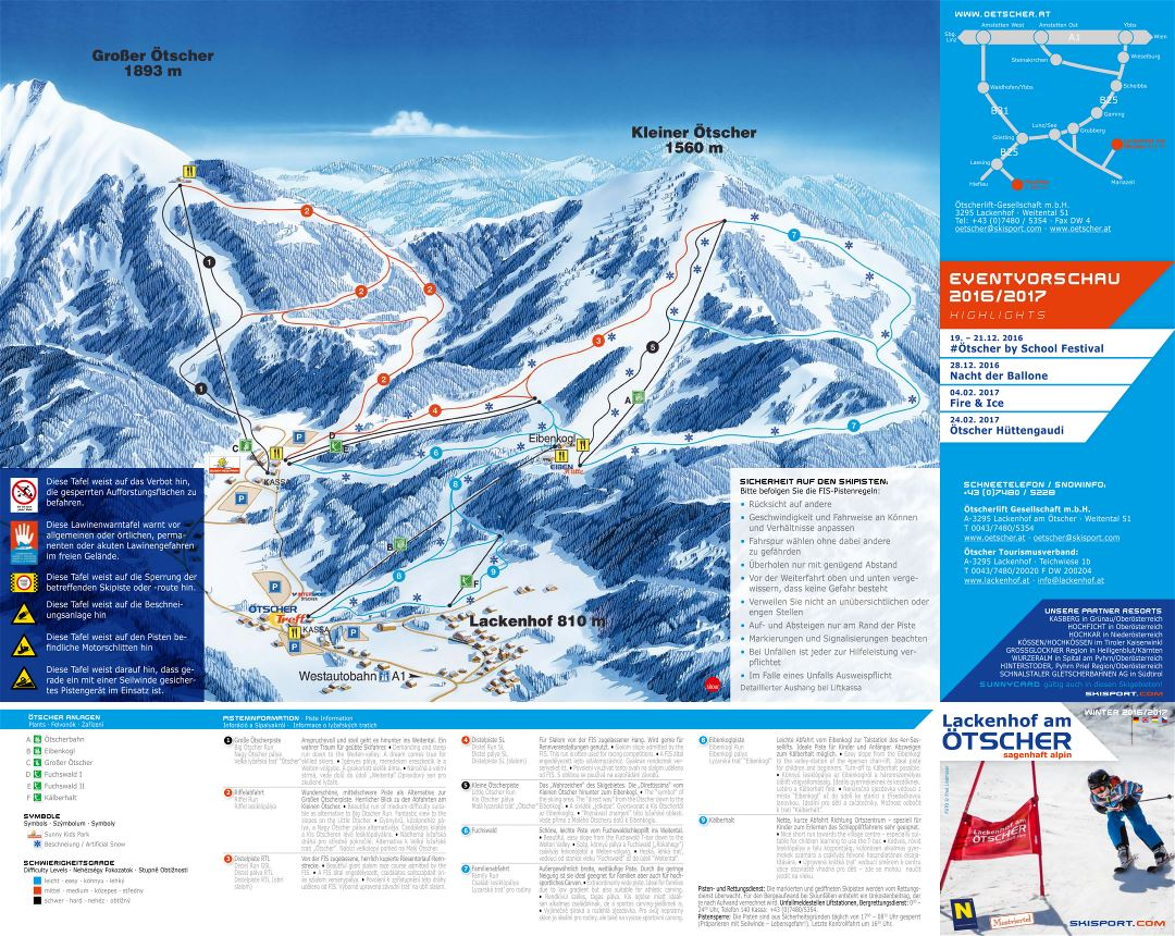 Large detailed piste map of Otscher - Lackenhof Ski Resort - 2016