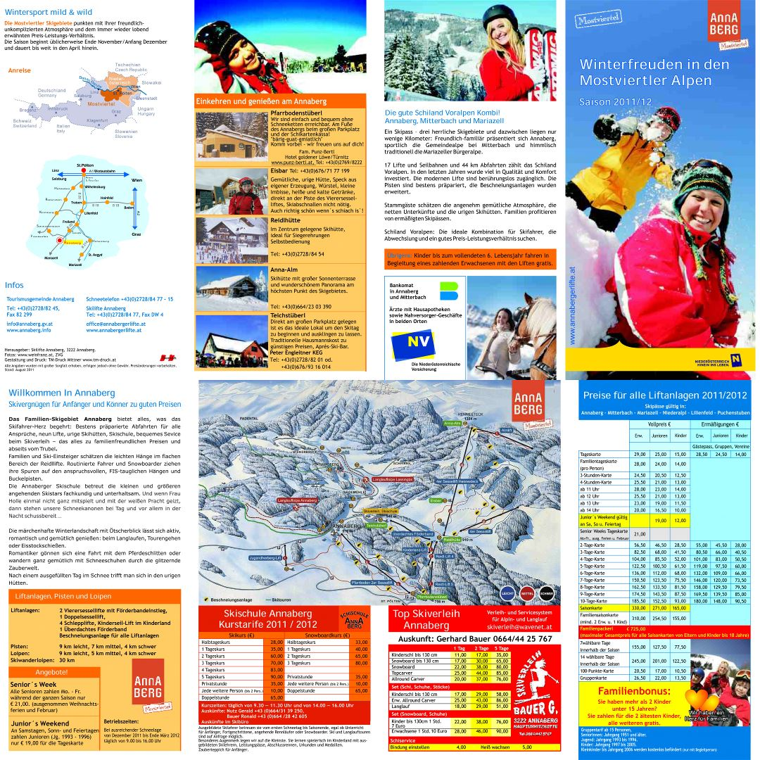 Large detailed tourist guide and piste map of Annaberg Ski Resort - 2011