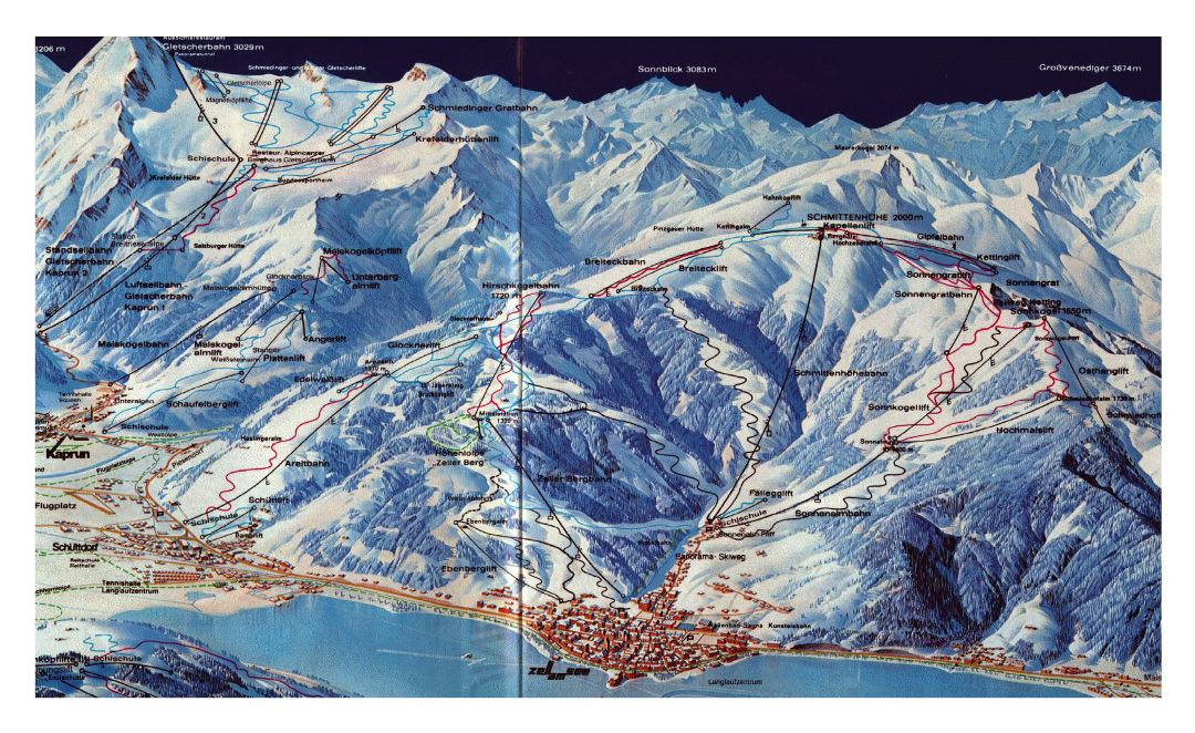 Detailed old piste map of Kaprun - Zell am See Ski Resorts - 1981