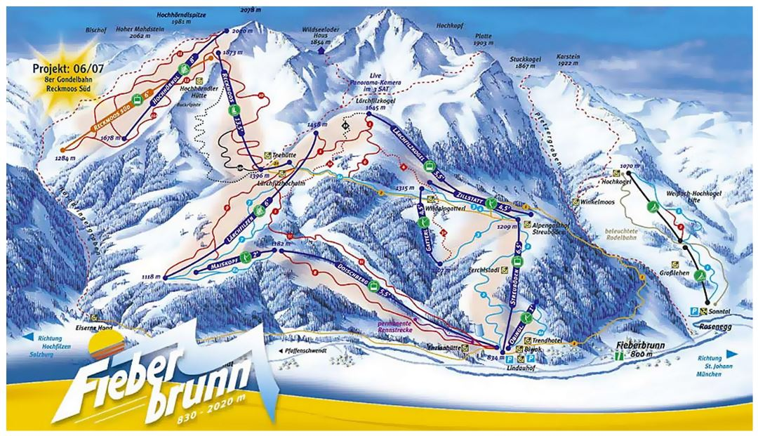 Detailed piste map of Fieberbrunn