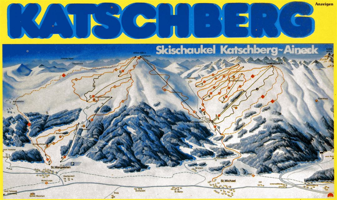 Detailed piste map of Katschberg Ski Resort - 1993