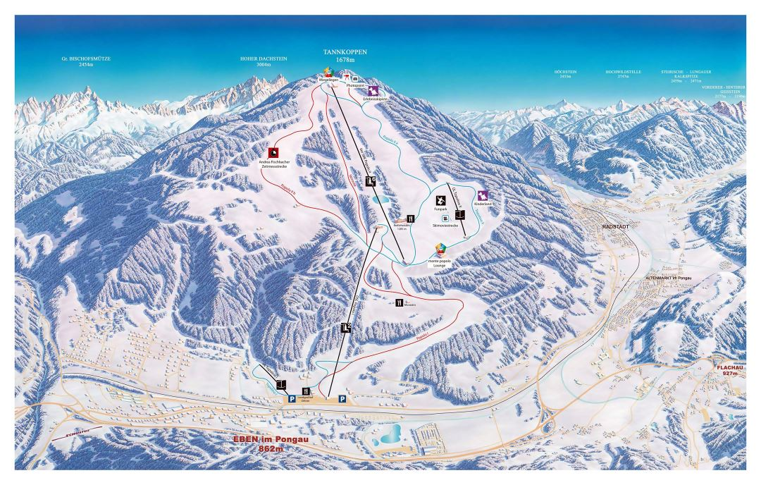 Large detailed piste map of Eben, Salzburg Sportwelt Ski Resort