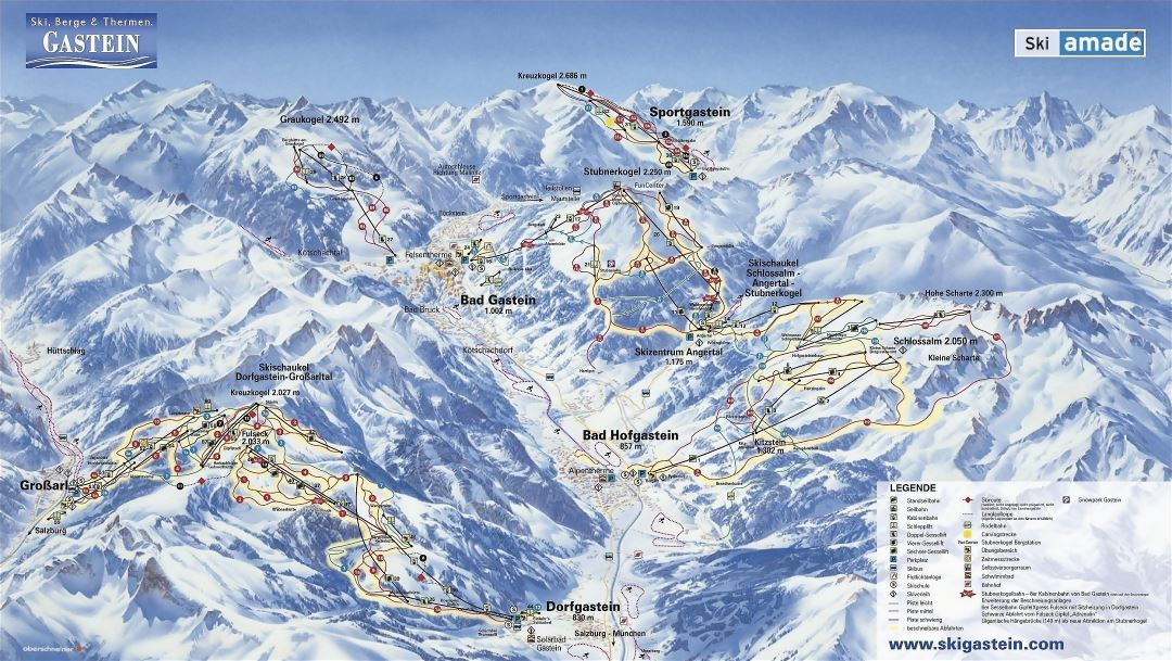 Large detailed piste map of Gastein Ski Resort - 2008