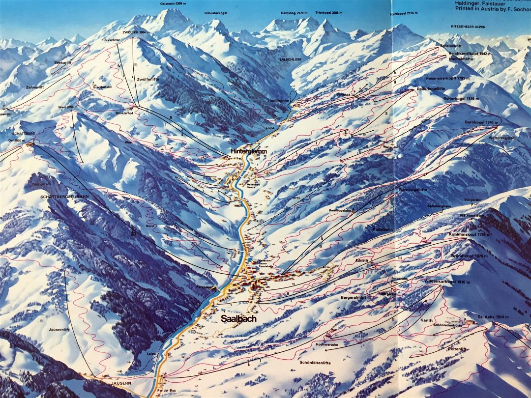 Large detailed piste map of Hinterglemm - Saalbach - 1985