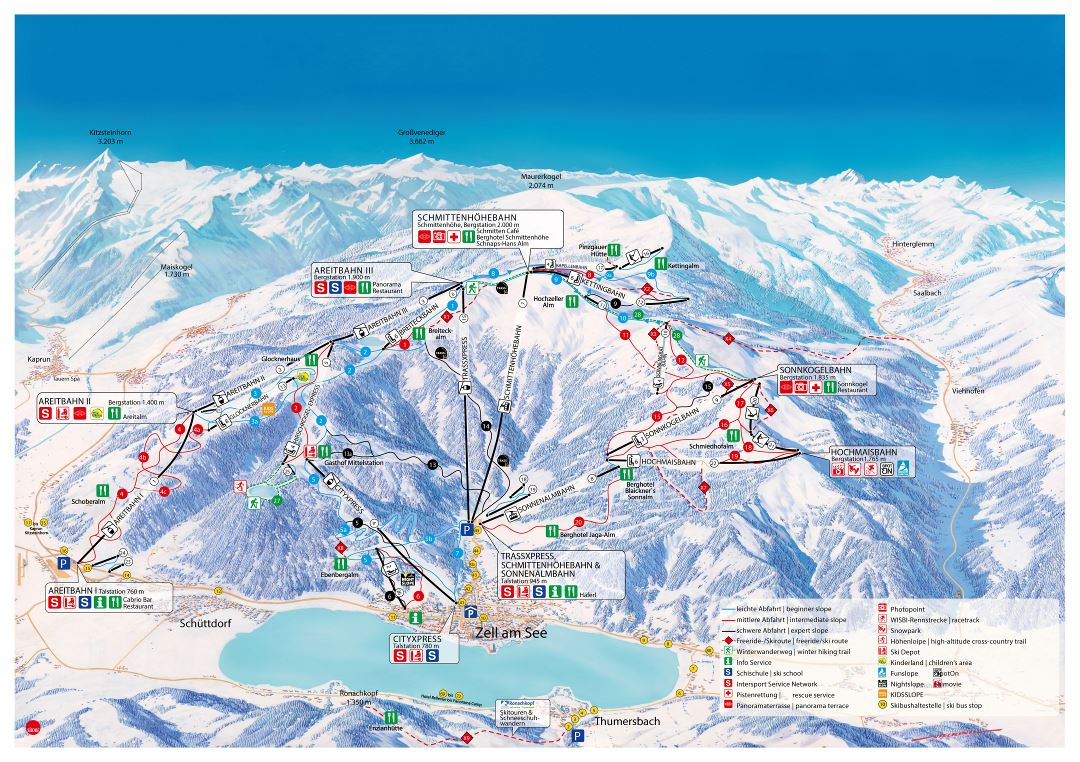 Large detailed piste map of Zell am See, Schmitten Ski Resort - 2015