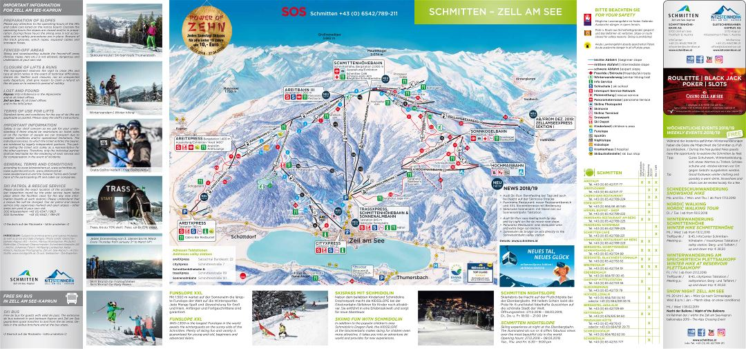Large detailed piste map of Zell am See, Schmitten Ski Resort - 2018-2019