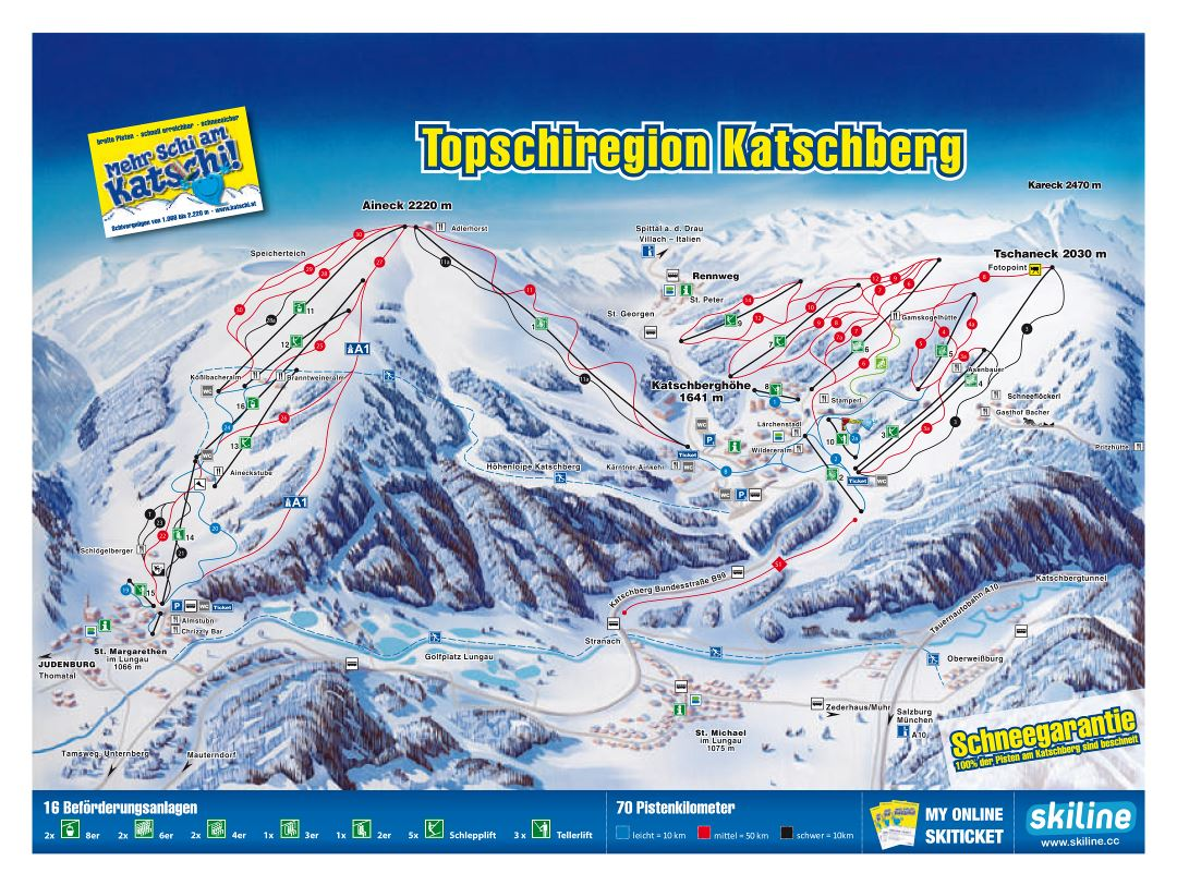 Large piste map of Katschberg Ski Resort - 2012