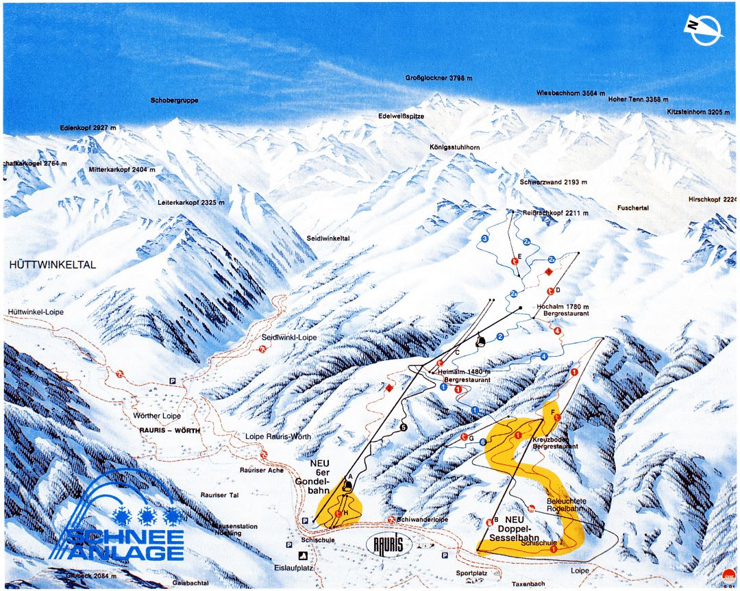 Large piste map of Rauris - 1998