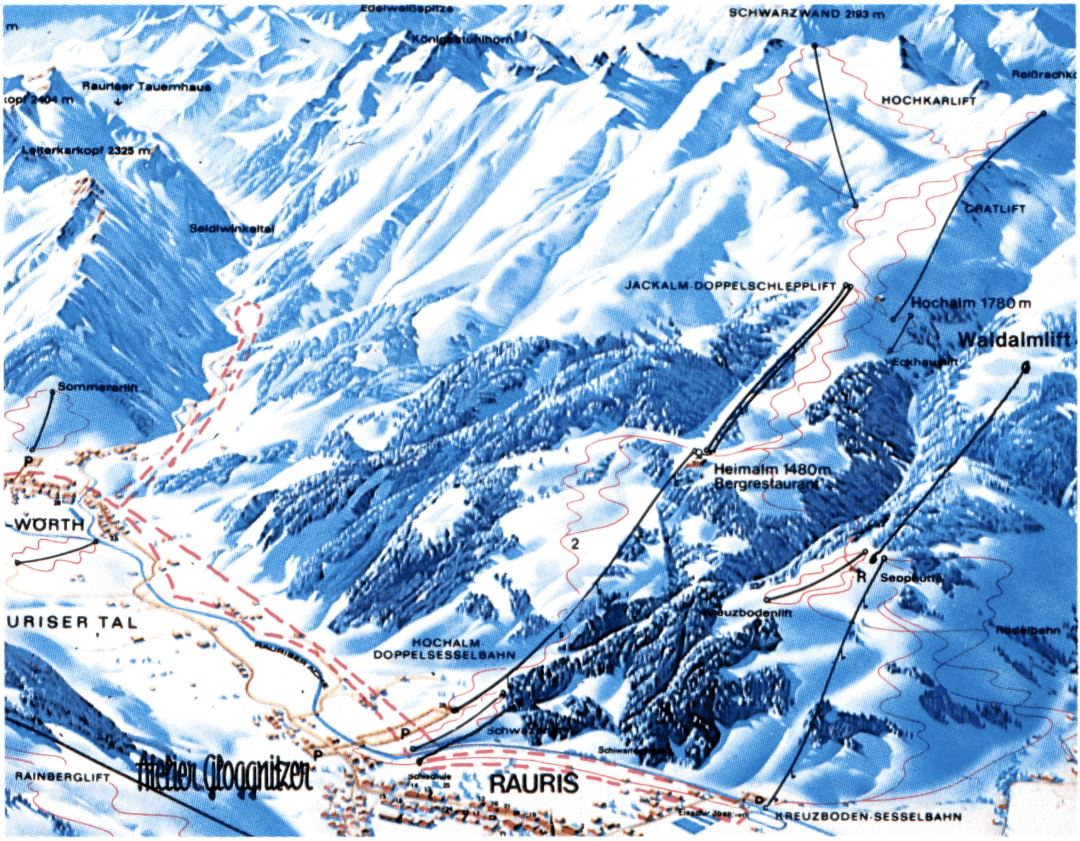 Large piste map of Rauris Ski Resort - 1985