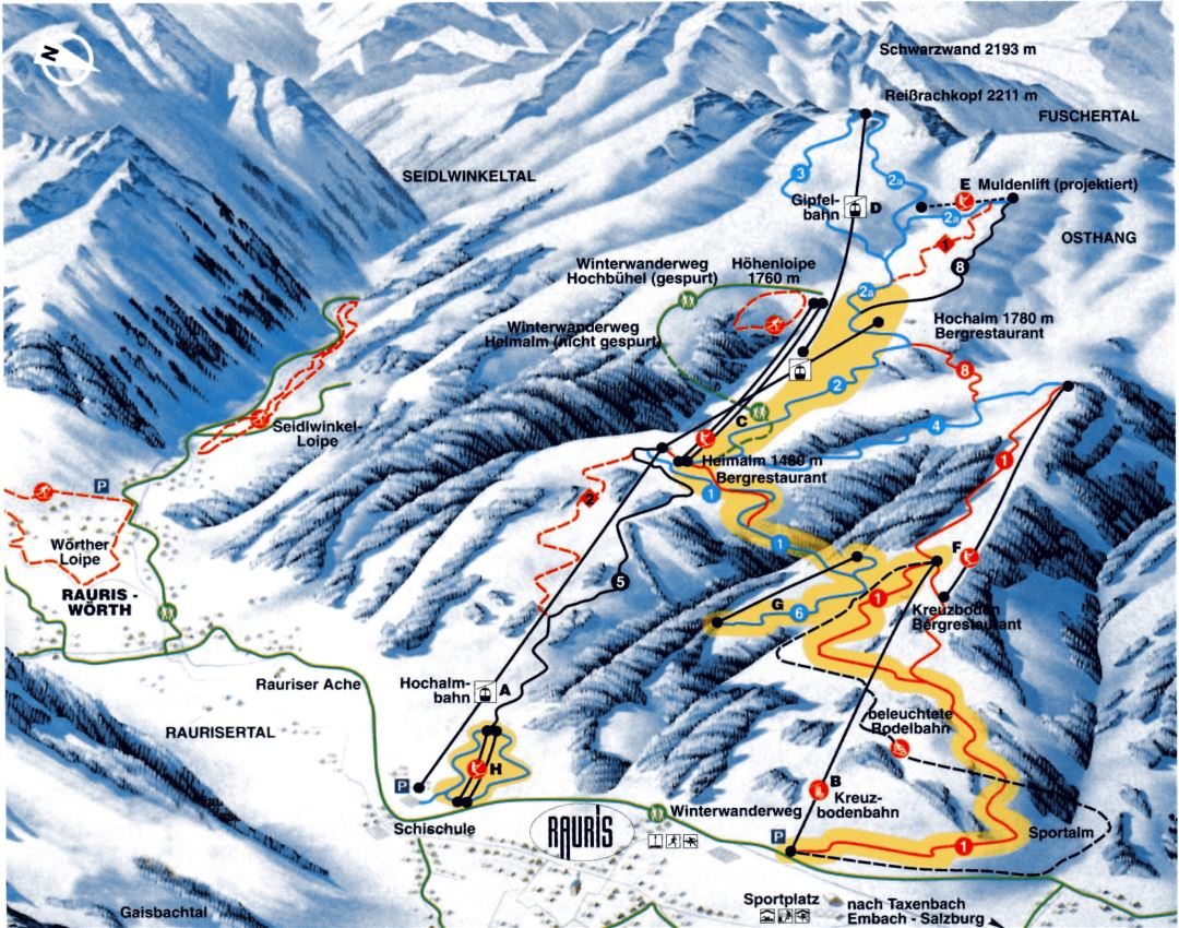 Large piste map of Rauris Ski Resort - 2002
