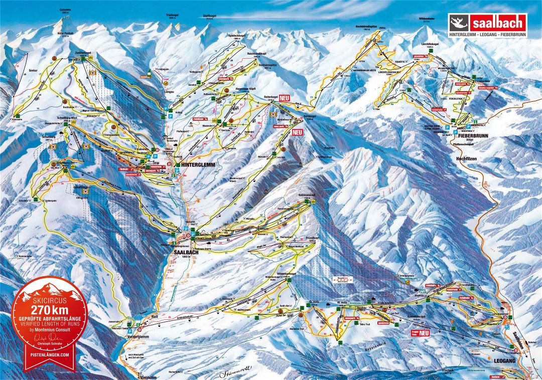 Large scale piste map of Hinterglemm, Leogang, Fieberbrunn, Saalbach - Ski Circus Ski Resort - 2015