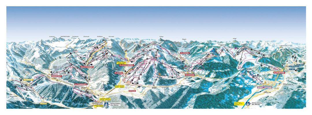 Large scale piste map of Salzburg Sportwelt Ski Resort - 2018
