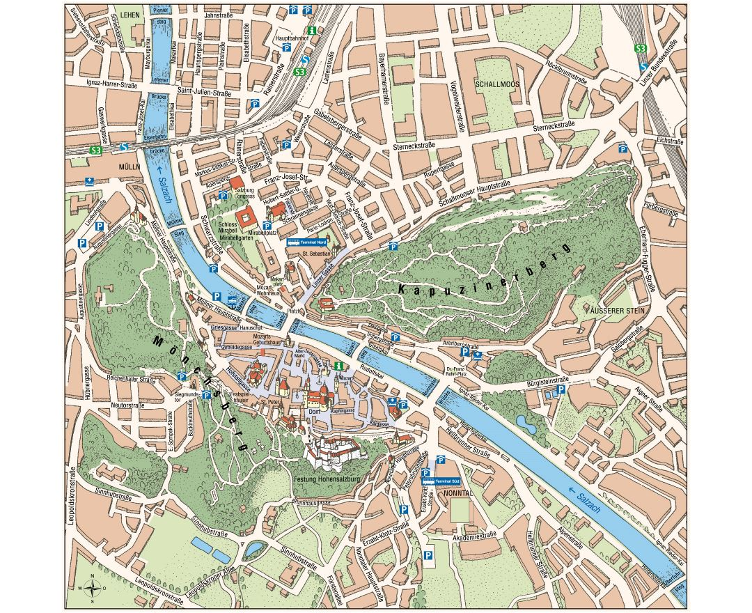 Large tourist map of Salzburg city center