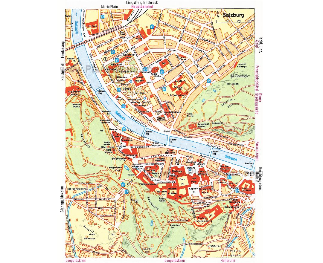 Tourist map of Salzburg city center