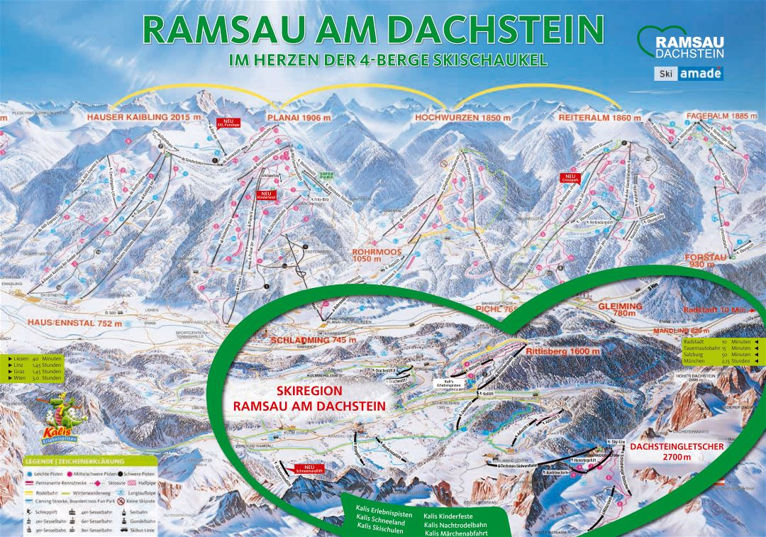 Large detailed piste map of Ramsau - Dachstein - 2019