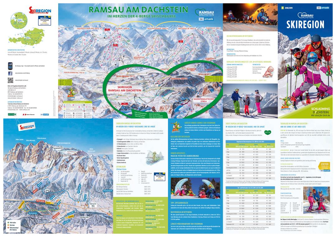 Large detailed piste map of Ramsau-Dachstein Ski Area - 2019
