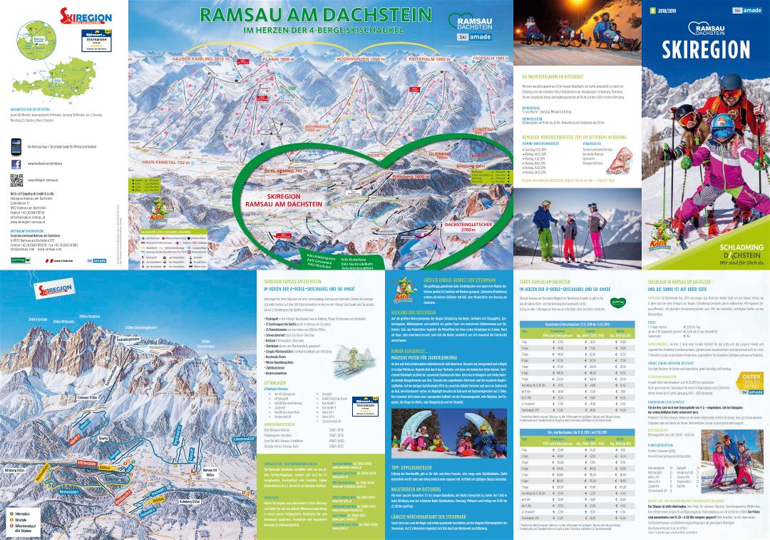 Large scale piste map of Ramsau - Dachstein Ski Area - 2019