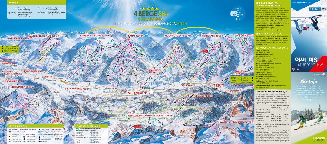 Large scale piste map of Schladming - Dachstein Ski Resort - 2019