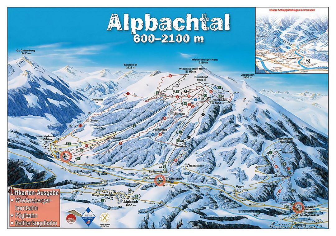 Detailed piste map of Alpbach - 2006