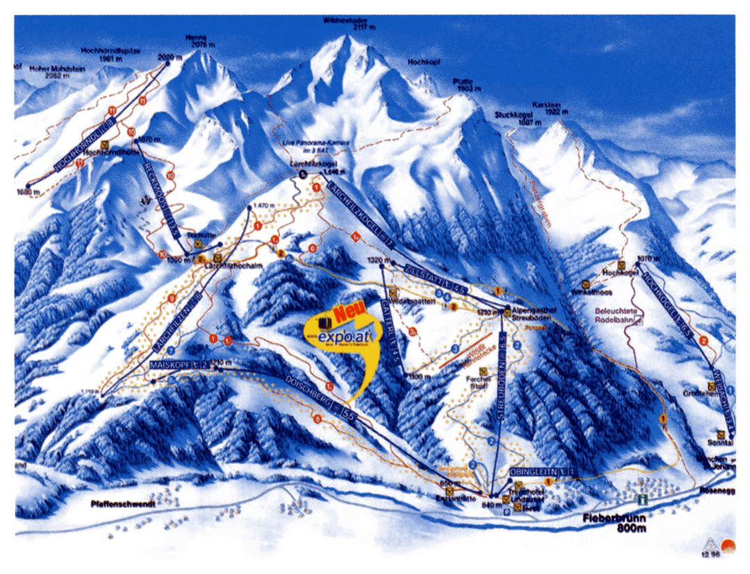 Detailed piste map of Fieberbrunn Ski Resort - 1996