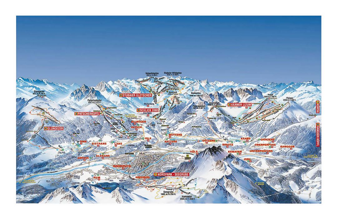 Detailed piste map of Innsbruck Ski Resort area (Olympia Skiworld)