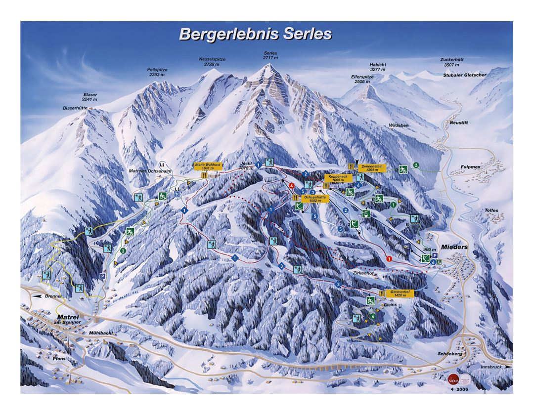 Detailed piste map of Matrei am Brenner, Mieders, Serles Ski Resort