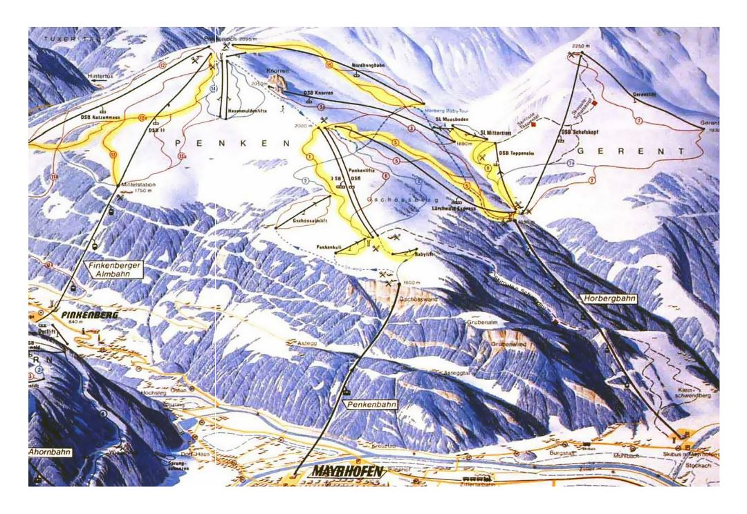 Detailed piste map of Mayrhofen, Finkenberg, Zillertal Valley - 1994