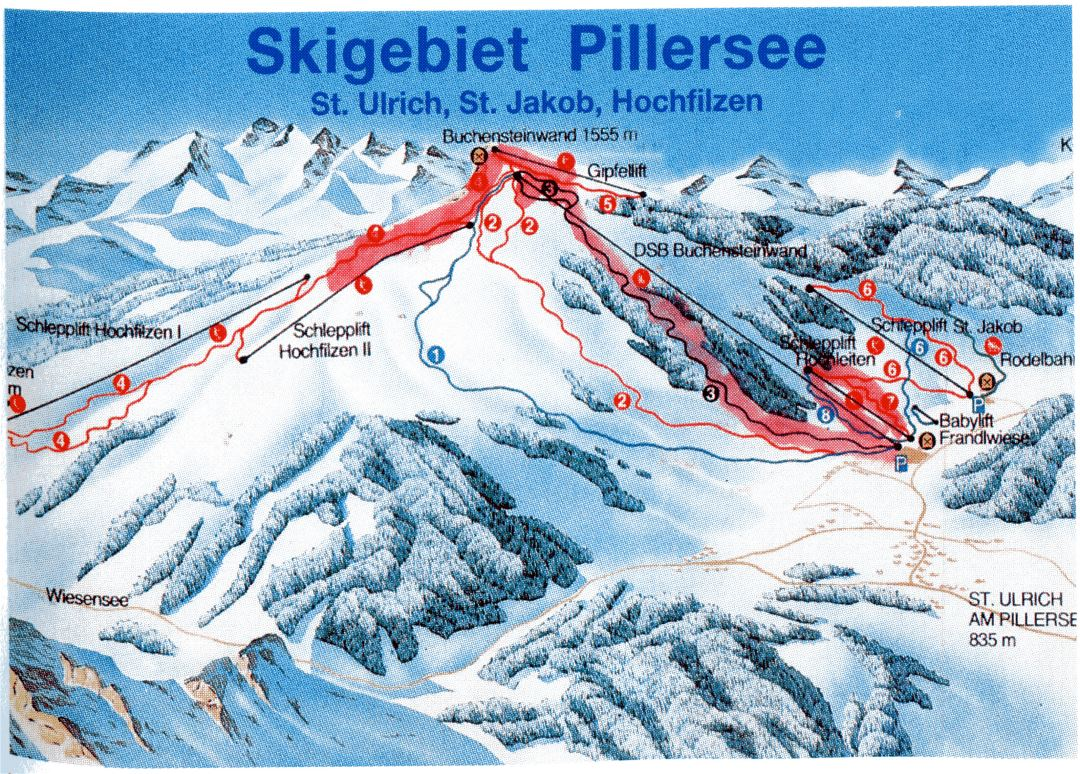 Detailed piste map of Pillersee Ski Resort - 1998