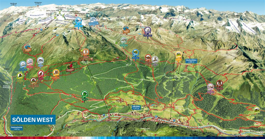 Large detailed cycling routes summer map of Solden Resort - 2016