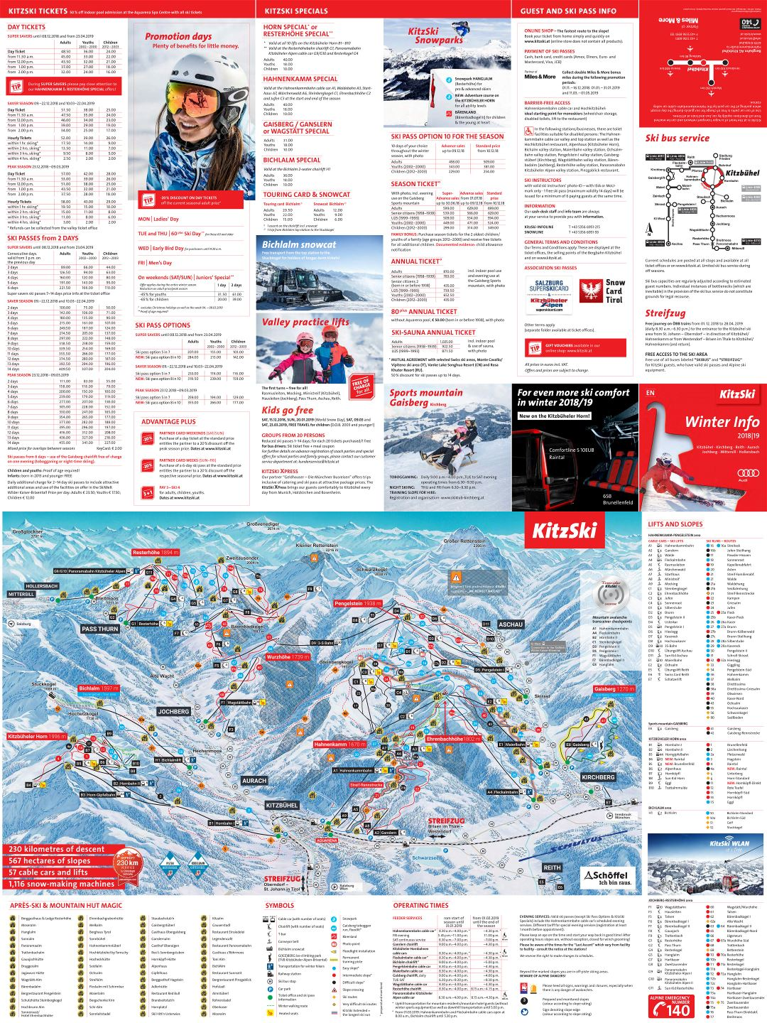 Large detailed guide and piste map of KitzSki Ski Resort - 2018-2019