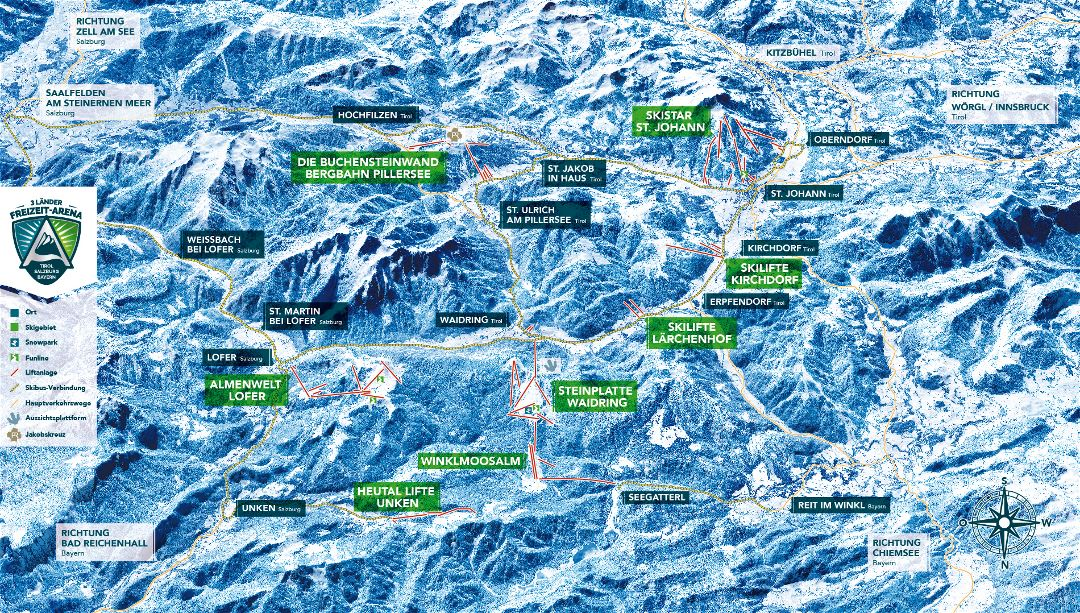 Large detailed map of Schneewinkel Ski Resort - 2018