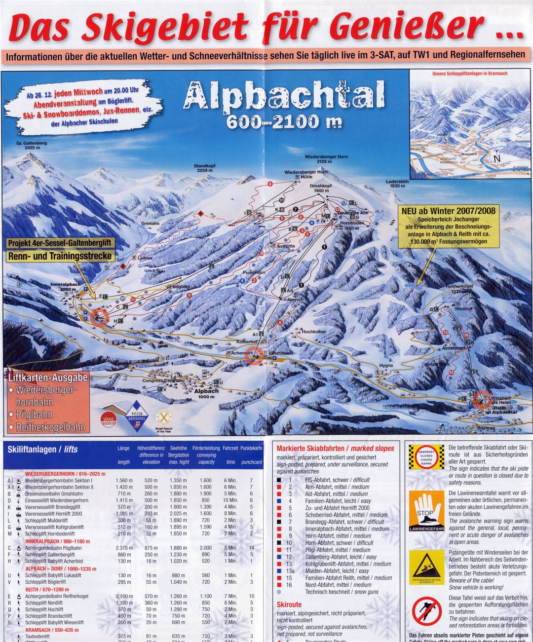 Large detailed piste map of Alpbach - 2007